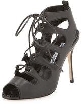 Manolo Blahnik Taala Leather Lace-Up Sandal, Black