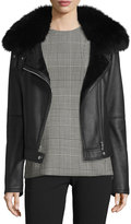 Theory Pomono Merino Silky Leather Shearling-Lined Jacket w/Fox Fur Collar