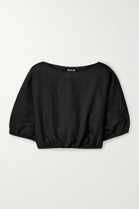 SUZIE KONDI Safari Cropped Linen Top - Black