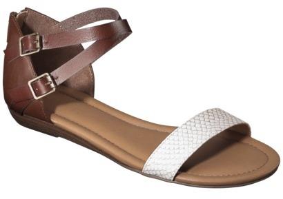 Merona Women's Elba Silver Wedge Sandal with Back Counter - Cognac