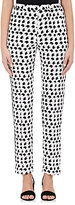 Derek Lam WOMEN'S CRESCENT-PRINT WASHED SILK TRACK PANTS-WHITE SIZE 38 IT