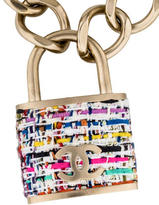 Chanel Tweed CC Padlock Pendant Necklace