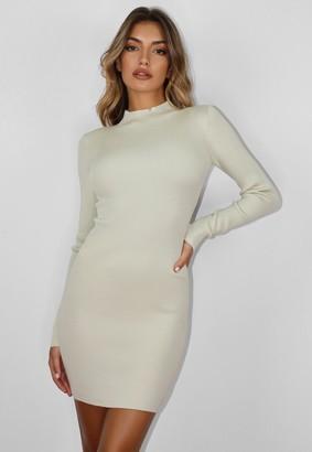 Missguided Mint Rib Knit High Neck Mini Dress