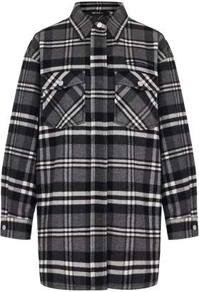 Mo&Co. Plaid Wool-Blend Oversized Tunic