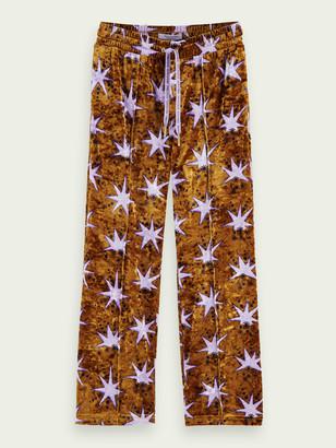 Scotch & Soda Wide leg velvet printed sweatpants | Girls