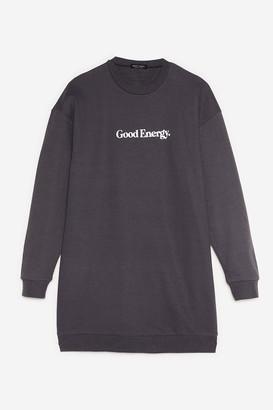 Nasty Gal Womens Good Energy Petite Graphic Sweatshirt Dress - Grey - 4