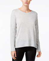 Bar III Zip-Back Mixed-Media Top, Only at Macy's