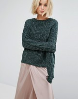 J.o.a. Oversized Sweater In Cable Marl