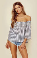 Blue Life off shoulder smocking top