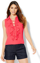 New York & Co. 7th Avenue Design Studio - Ruffled Lace-Up Shell - Petite