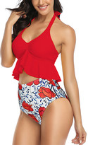 Coeur De Vague Coeur de Vague Women's Bikini Bottoms Red - Red Ruffle-Accent Halter Bikini Top & Red Floral High-Waist Bottoms - Women