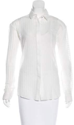 Anthony Vaccarello Pleated Button-Up Top w/ Tags