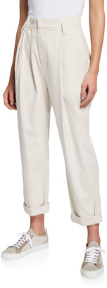 Brunello Cucinelli Pleated Cotton Relaxed Pants with Soft Pleats