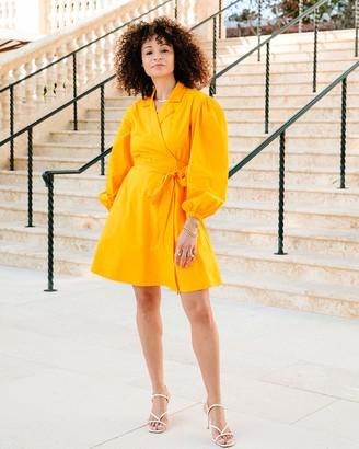 The Drop Women's Saffron Balloon-Sleeve Wrap Mini Dress by @scoutthecity XL