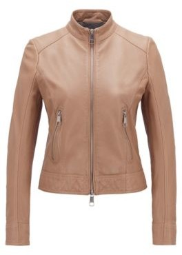 HUGO BOSS Biker-style leather jacket with jersey lining
