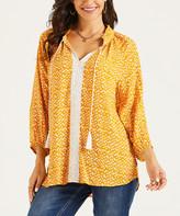 Suzanne Betro Weekend Women's Tunics 101MUSTARD/IVORY - Mustard & Ivory Ikat Peasant Tunic - Women & Plus
