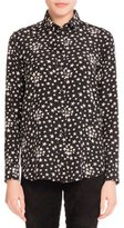 Saint Laurent Star-Print Crepe de Chine Blouse, Black/White