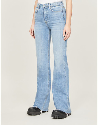 GRLFRND Carla flared high-rise stretch-denim jeans