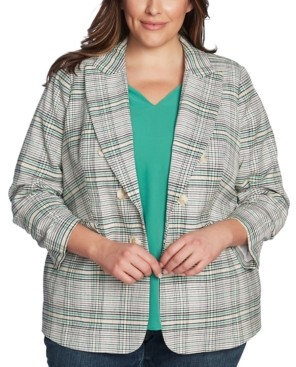 1 STATE Trendy Plus Size Plaid Cassia Blazer