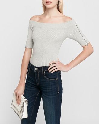 Express Off The Shoulder Zip Sleeve Sweater