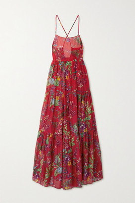 Etro Palmaria Floral-print Cotton And Silk-blend Maxi Dress - Red
