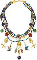 Jose & Maria Barrera Multi-Strand Cloisonné Beaded Charm Necklace