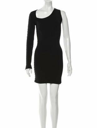 Balmain Scoop Neck Mini Dress Black