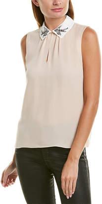 Rebecca Taylor Bird Embellished Silk Top