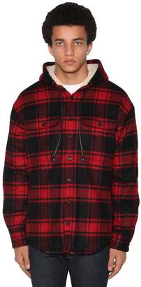 DSQUARED2 CHECK WOOL BLEND FLANNEL SHIRT JACKET