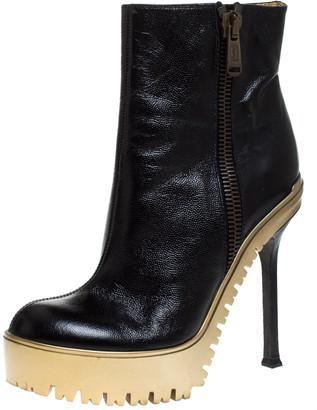 Saint Laurent Black Leather Trooper Platform Ankle Boots Size 38