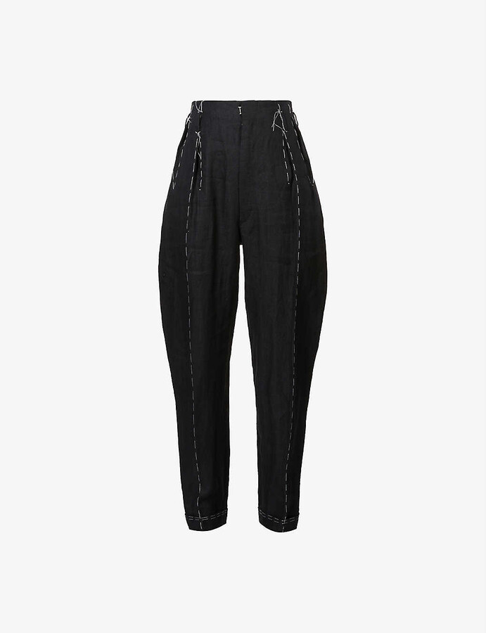 Maison Margiela Tapered exposed-stitching linen trousers