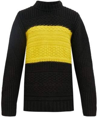 Paul Smith Contrast Panel Wool Blend Sweater - Mens - Black