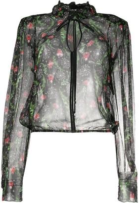 Patrizia Pepe Floral-Print Transparent Blouse