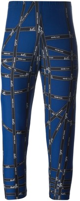 Hermes 1980's Logo Ribbon Print Leggings