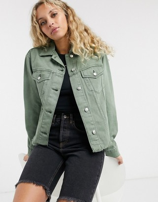 Topshop organic cotton shacket in khaki