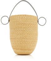 Inès Bressand Ines Bressand Leather-Trimmed Straw Top Handle Bag