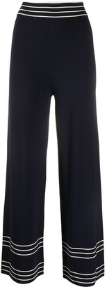 ODYSSEE Rowland striped-hem wide-leg trousers