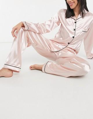 NIGHT pink satin shirt and pants pyjama set