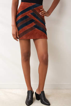 Blank NYC Walk Line Suede Patchwork Mini Skirt Brown 27
