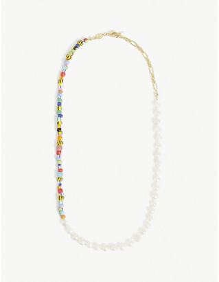 Anni Lu Pearly Alaia 18ct gold-plated brass, glass beads and freshwater pearls necklace