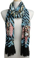 Ed Hardy Womens Flag Tiger Knit Scarf -Blue/Black