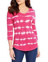 Westbound 3/4 Sleeve V-Neck Tie-Dye Sweater