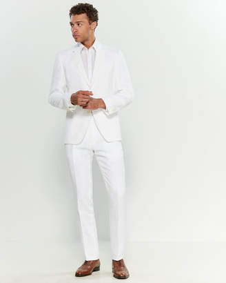 Tommy Hilfiger White Halsey Two-Piece Linen Slim Fit Suit
