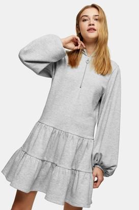 Topshop Gray Peplum Sweatshirt Mini Dress with Zip
