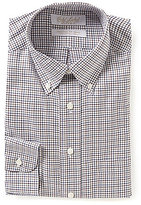 Roundtree & Yorke Gold Label Grid-Patterned Classic Fitted Non-Iron Twill Dress Shirt