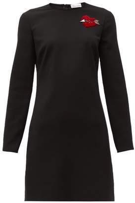 RED Valentino Velvet Heart Crepe Mini Dress - Womens - Black