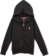U.S. Polo Assn. Black Zip-Up Hoodie - Girls