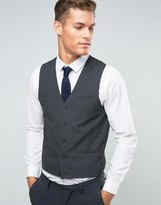 Asos Waistcoat With Square Hem In Charcoal