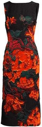 Oscar de la Renta Trufted Rose Fitted Sheath Dress