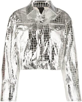 Just Cavalli Croc-Effect Metallic Jacket